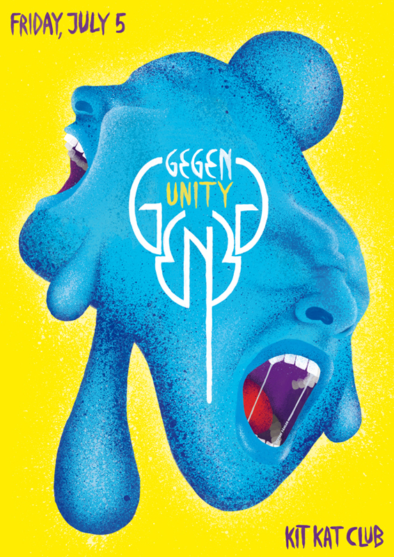 Ongoing Flyer Series For Gegen Berlin At Kit Kat Club